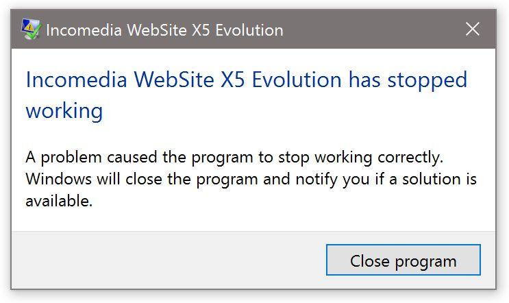 WebSite X5 Help Center - X5 13 crashes during start
